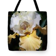 Gold And White Iris Tote Bag