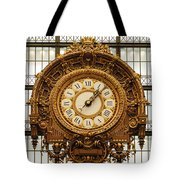 Gold Clock Paris France Tote Bag