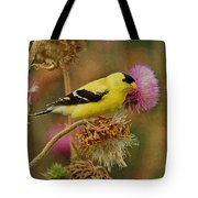 Goldfinch On Thistle Tote Bag