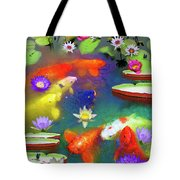 Gold Fish And Water Lily Pads Tote Bag