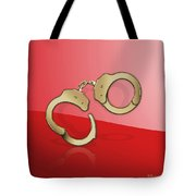 Gold Handcuffs On Red Tote Bag