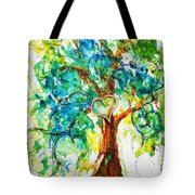 Gold Heart Valentine Tree Watercolor N Ink Tote Bag