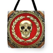 Gold Human Skull Over White Leather  Tote Bag