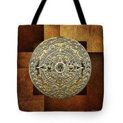 Gold Mayan-aztec Calendar On Brown Leather Tote Bag