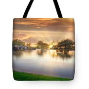 Gold Sunset At The Lake Tote Bag