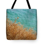 Gold Thistles And The Aegean Sea Tote Bag