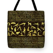 Gold Yoga Asanas / Poses Sanskrit Word Art  Tote Bag