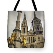 Golden Angel Statues In Front Of The Cathedral Tote Bag