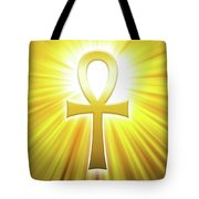 Golden Ankh With Sunbeams Tote Bag