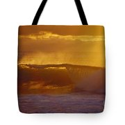 Golden Backlit Wave Tote Bag