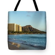 Golden Bliss On The Beach - Waikiki And Diamond Head Volcano Tote Bag