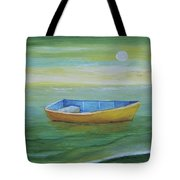 Golden Boat In The Green Lagoon Tote Bag