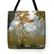 Golden Bus Stop Late Autumn Tote Bag