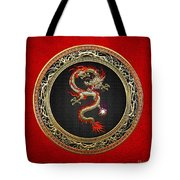 Golden Chinese Dragon Fucanglong On Red Leather  Tote Bag