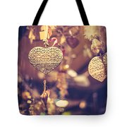 Golden Christmas Hearts Tote Bag