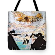 Golden Eagle Flies Above Clouds And Mountains Tote Bag by Carol  Law Conklin