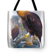 Golden Eagle Antique Print John Gould Birds Of Great Britain Tote Bag