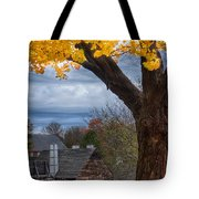 Golden Fall Colors Over Iron Works Tote Bag