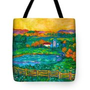 Golden Farm Scene Sketch Tote Bag