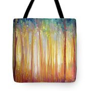 Golden Forest Hidden Unicorn - Large Original Oil Painting By Gill Bustamante Tote Bag