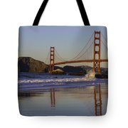 Golden Gate And Waves Tote Bag
