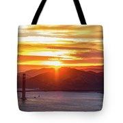 Golden Gate Bridge And San Francisco Bay At Sunset Tote Bag
