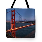 Golden Gate Bridge At Night Tote Bag