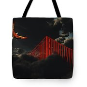 Golden Gate Bridge In Heavy Fog Clouds With Eagle Tote Bag