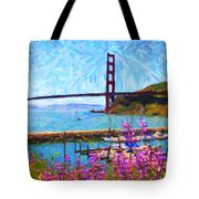 Golden Gate Bridge Viewed From Fort Baker Tote Bag by Wingsdomain Art and Photography