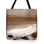 Golden Gate Bridge With Shore - Sepia Tote Bag