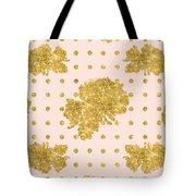 Golden Gold Blush Pink Floral Rose Cluster W Dot Bedding Home Decor Tote Bag