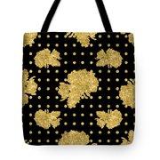 Golden Gold Floral Rose Cluster W Dot Bedding Home Decor Art Tote Bag
