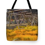 Golden Gras And Fish Drying Rack Tote Bag by Heiko Koehrer-Wagner