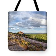 Golden Hour Light On Turkey Peak And Prickly Pear Cacti - Enchanted Rock Fredericksburg Hill Country Tote Bag