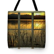 Golden Lake Bay Picture Window View Tote Bag
