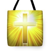 Golden Latin Cross With Sunbeams Tote Bag