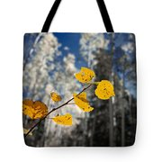 Golden Leaves Against A Muted Forest Tote Bag