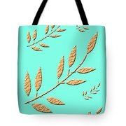 Golden Leaves On Aqua Tote Bag