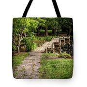Golden Light On Footbridge Japanese Garden Maymont Tote Bag