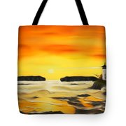 Golden Lighthouse Sunset Dreamy Mirage Tote Bag