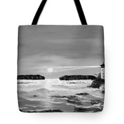 Golden Lighthouse Sunset In Black And White Tote Bag