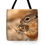 Golden-mantled Ground Squirrel Eating Prickly Spine Tote Bag