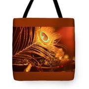 Golden Peacock Feather Tote Bag