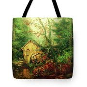 Golden Pond Below The Mill In The Mist Tote Bag by Isabella Howard