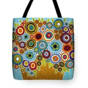 Golden Pot Of Blooms Tote Bag