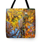 Golden Reflections On Lily Pond Tote Bag