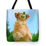 Golden Retriever Catch The Ball  Tote Bag