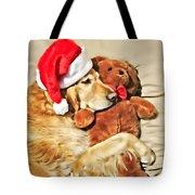 Golden Retriever Dog Christmas Teddy Bear Tote Bag