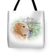 Golden Retriever Dog Merry Christmas Card Tote Bag