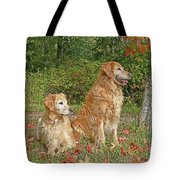 Golden Retriever Dogs In Autumn Tote Bag